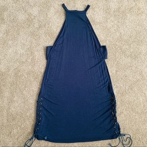 Blue lace-bottom dress